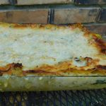 baked chicken and butternut squash lasagna fresh from oven