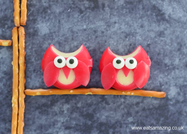 babybel cheese cut to look like cute little owls for snack