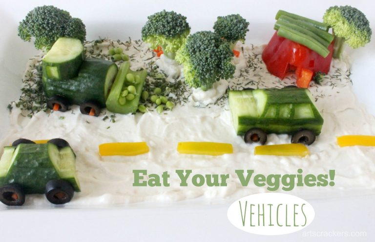 Vegetable cars rolling across a plate of dip