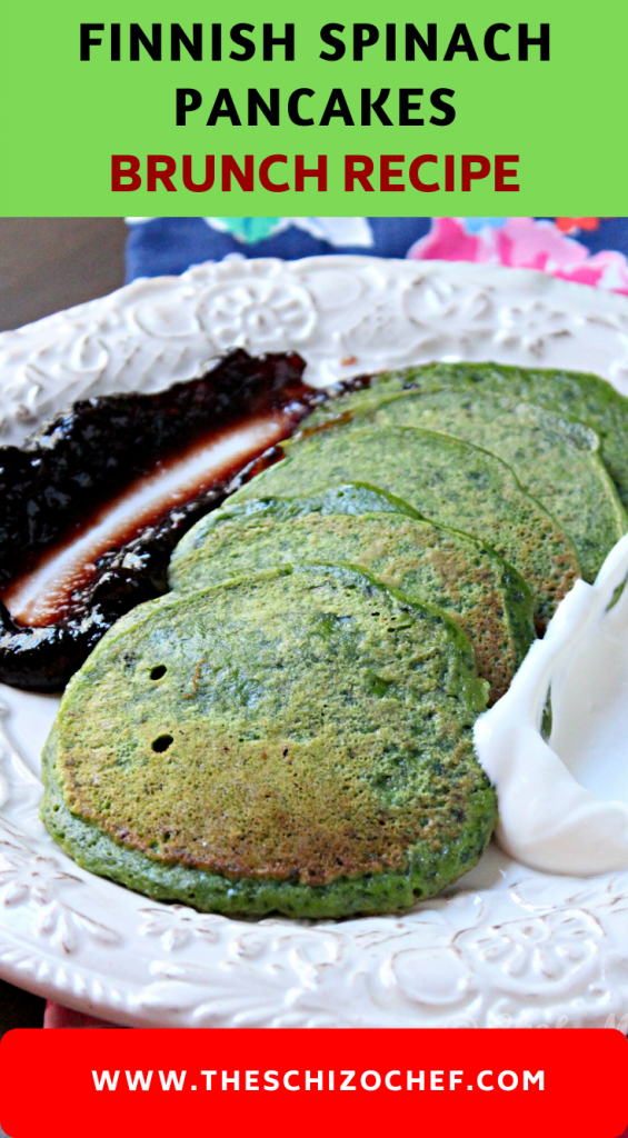 green spinach pancakes with sauce on the side arranged on a white plate