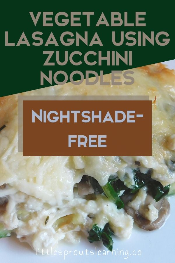 I LOVE lasagna, there's no better comfort food, but many people can't eat tomato sauce. I wanted to create a nightshade-free vegetable lasagna using zucchini noodles that was gluten-free too.