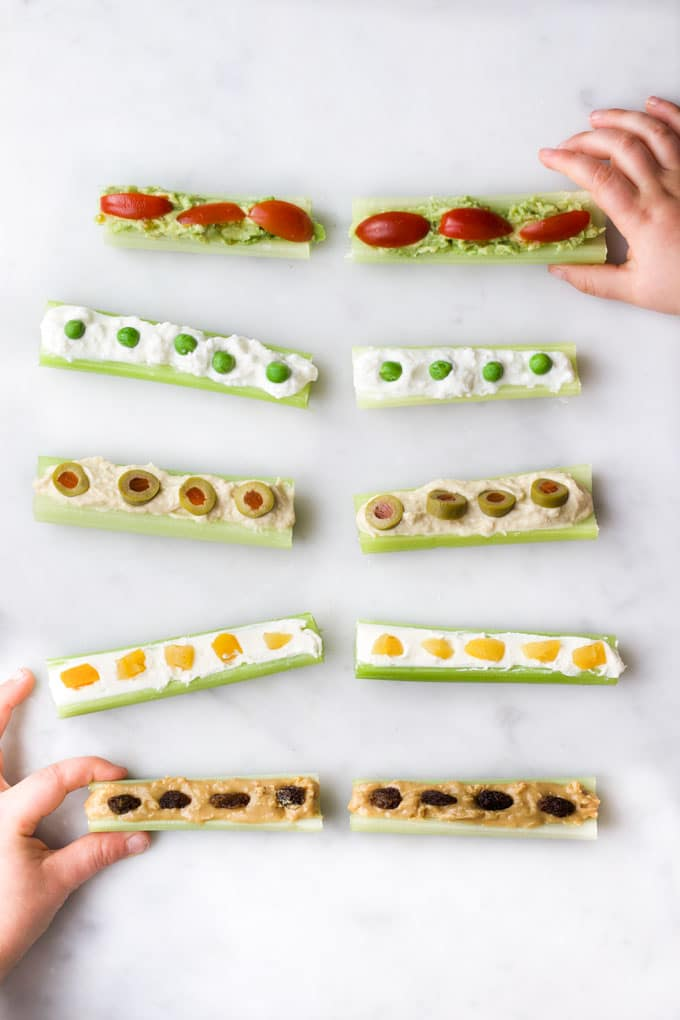 ants on a log recipes with different toppings