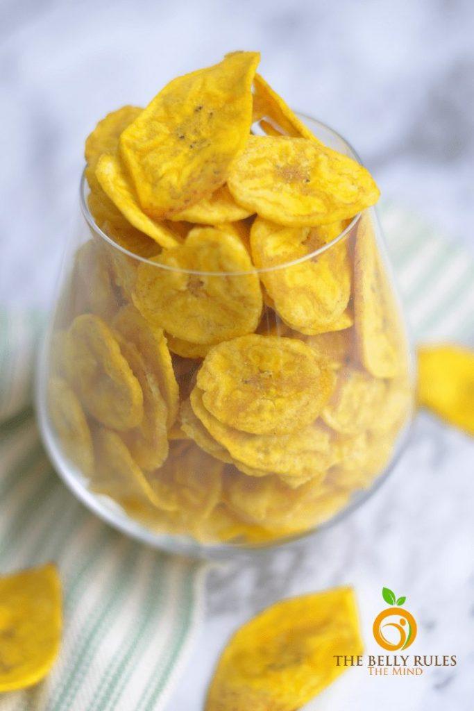 glass full of banana chips