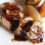pork tenderloin teriyaki with onion and potatoes.