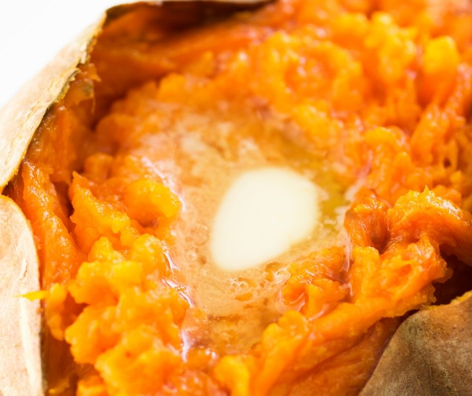 baked sweet potato with butter