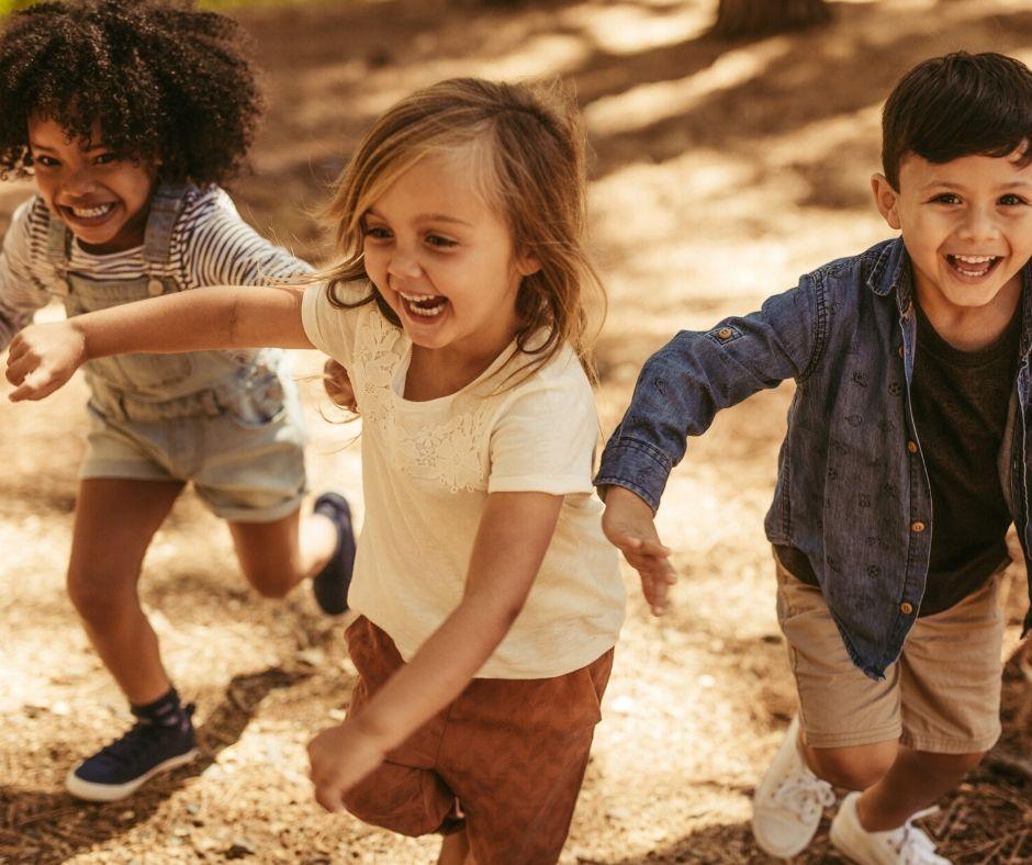 preschool children running