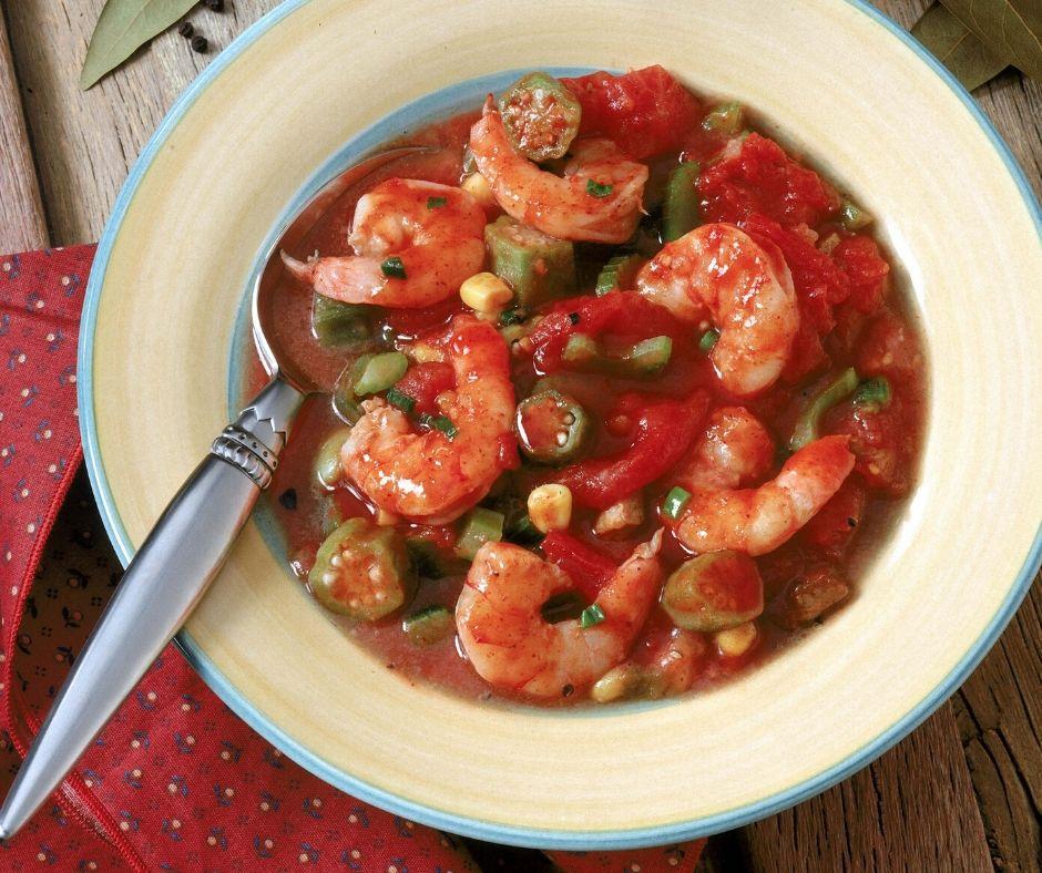 shrimp gumbo in a bowl