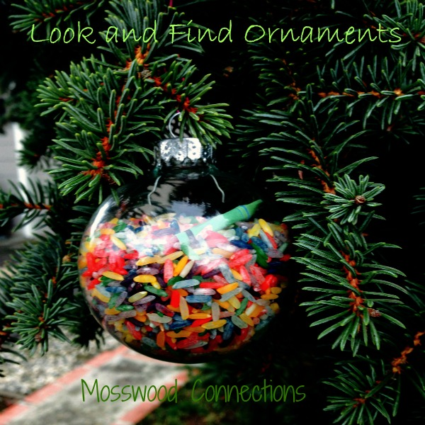 look and find clear glass ornaments made with colored rice