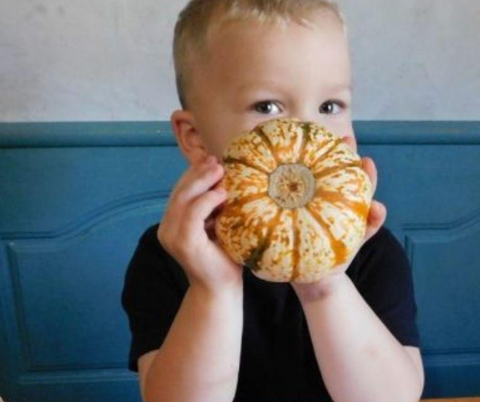 child holding a pumpkin for pumpkin activities