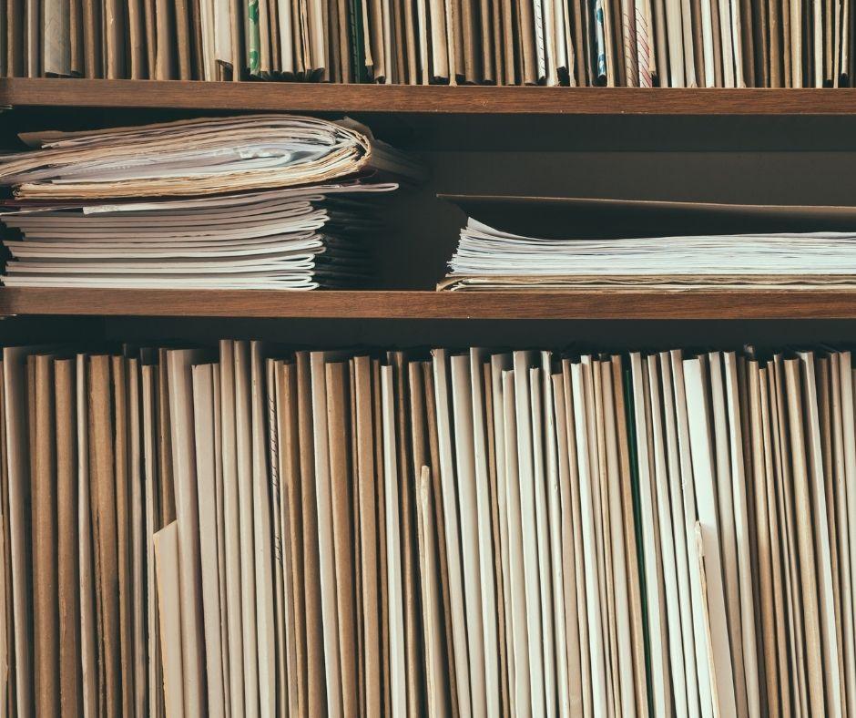 shelves full of files