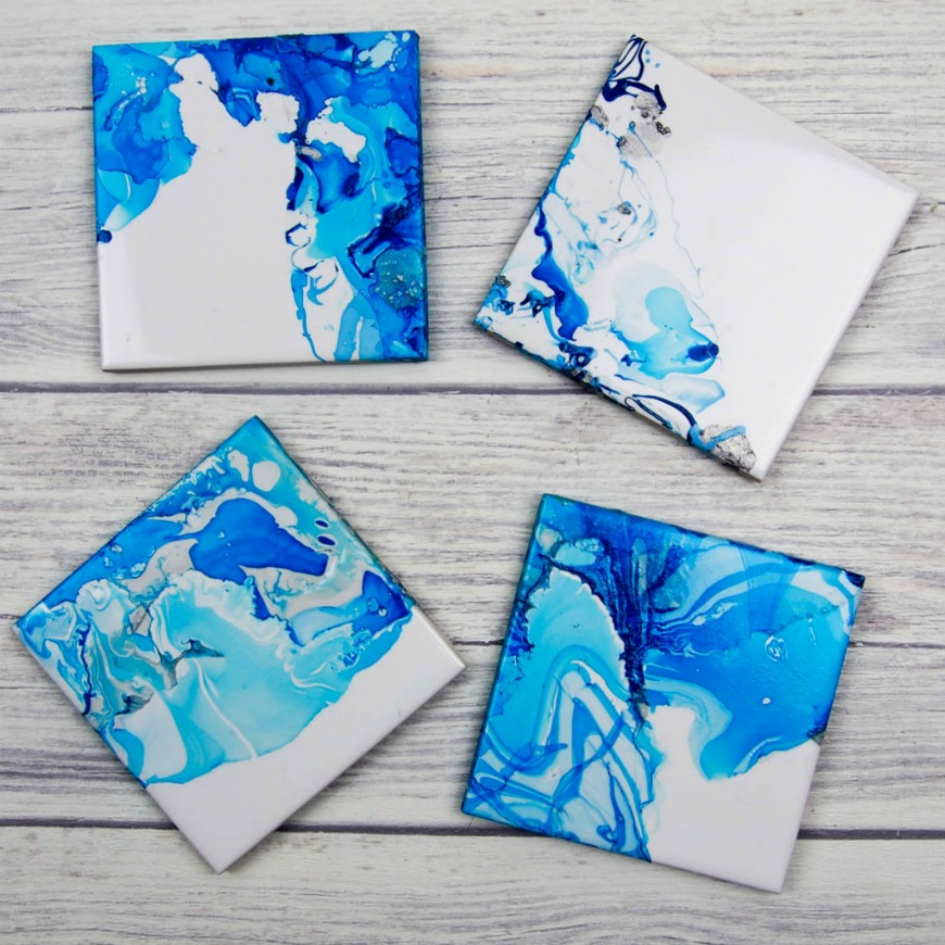gorgeous blue coasters made on tile.