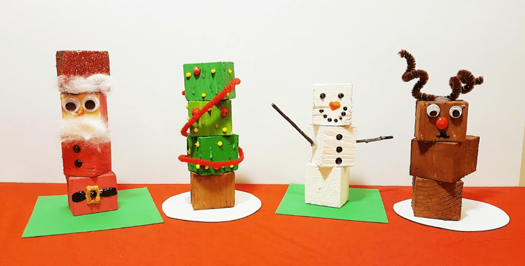 christmas decorations made of wooden blocks for kids to make for parents