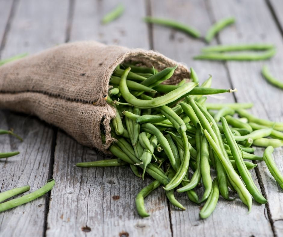 fresh green beans in a burlap bag spilling out on the deck