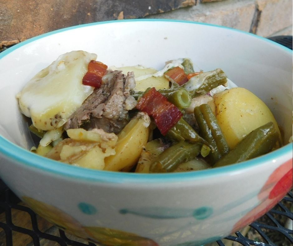green beans and potatoes with bacon and pork tenderloin made in an instant pot