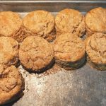 pan of biscuits from the oven
