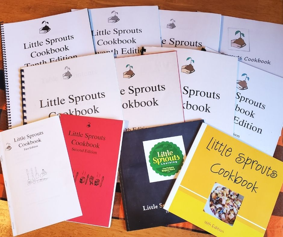 daycare cookbooks arranged on the table