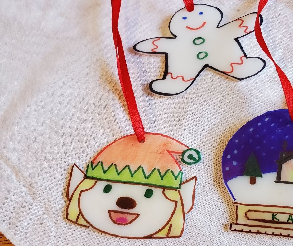 shrinky dinks with hanger on tablecloth