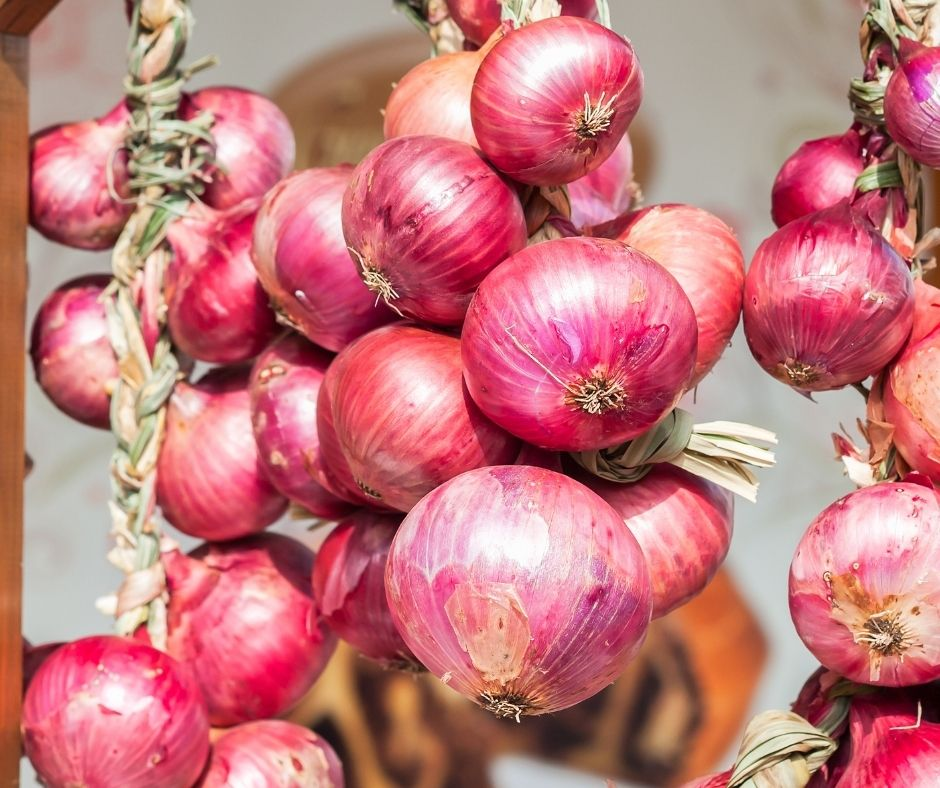 braided onions hanging