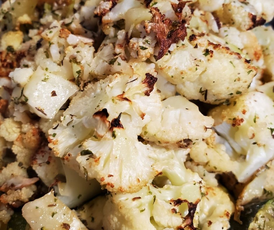 air fried cauliflower with browned bits