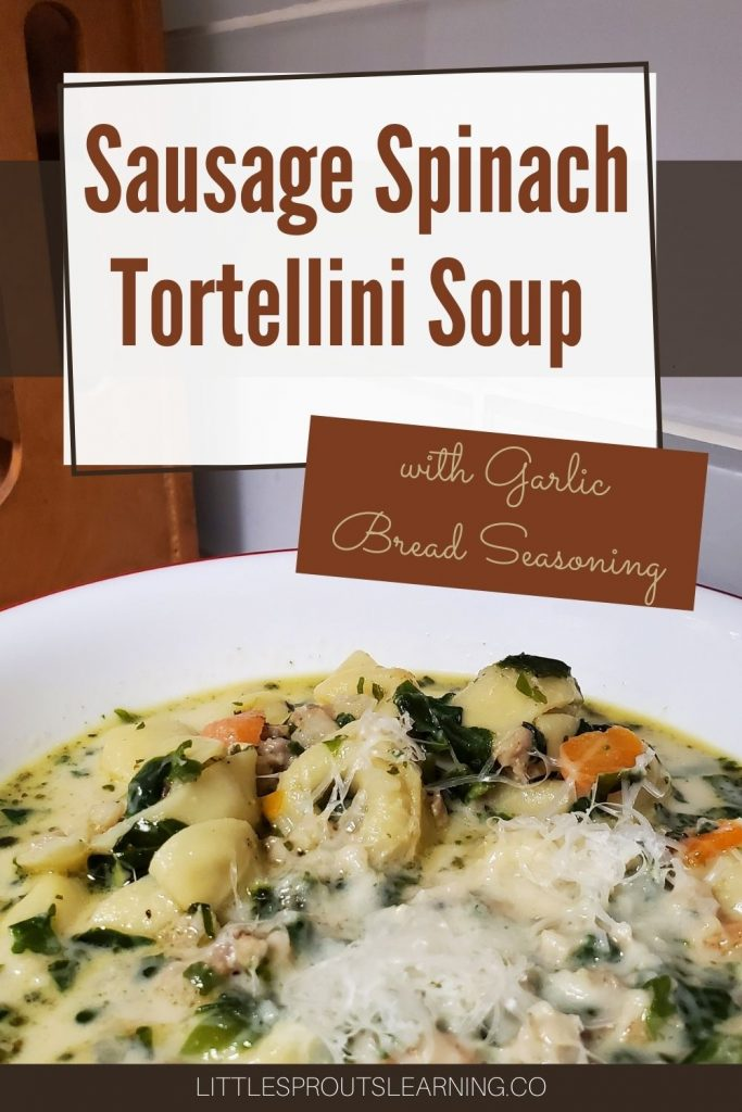 This creamy, comforting sausage spinach tortellini soup is completely magical with flavor because of the garlic bread seasoning used to flavor it.