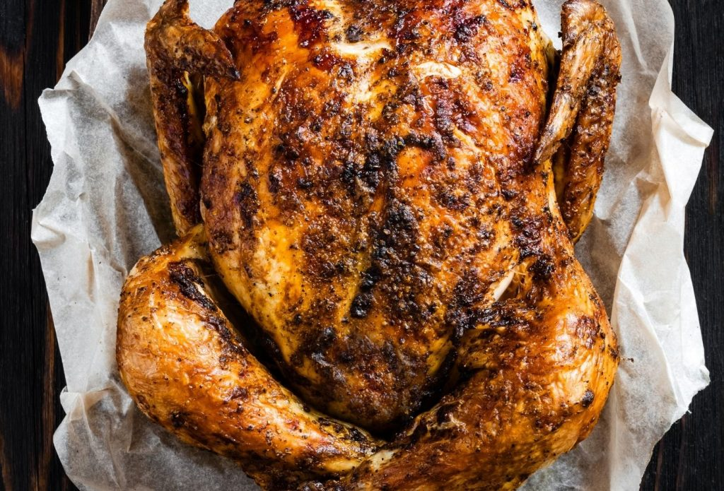Whole chicken on a plate