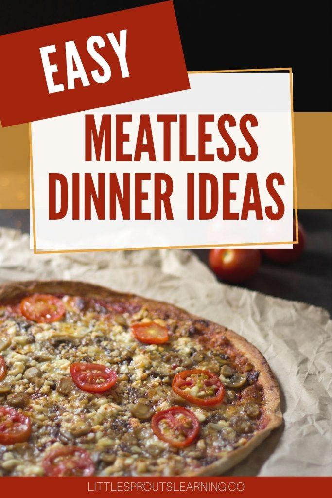 Fresh veggie meatless dinner pizza on a towel on a table