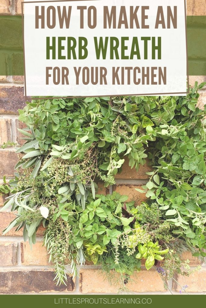 Edible herb wreath hanging on a brick wall