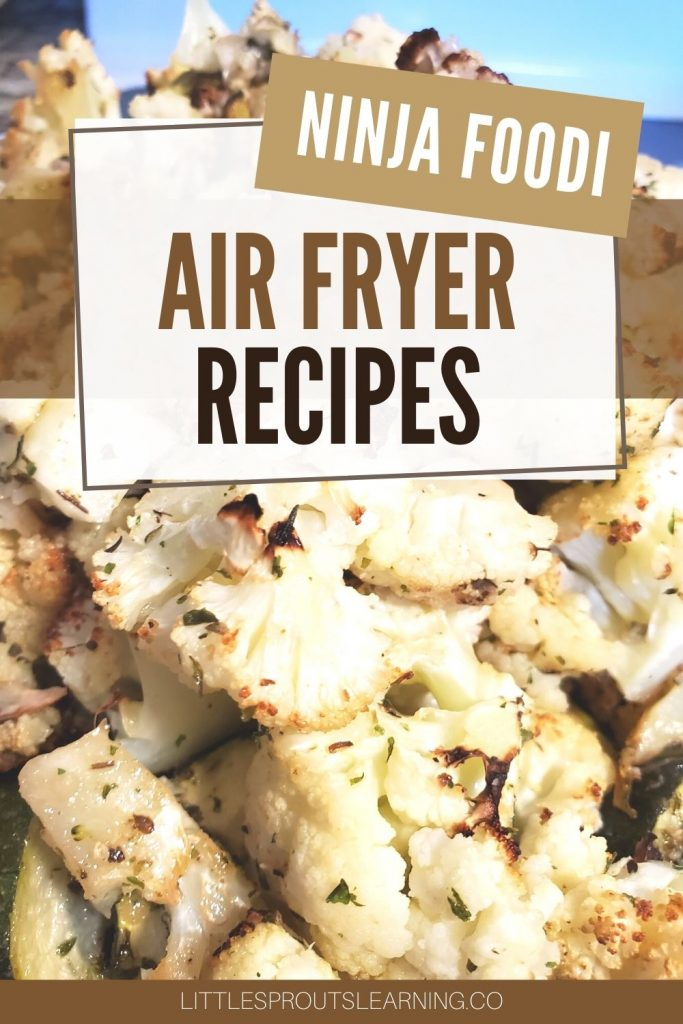 air fried cauliflower on the fryer basket with browned edges