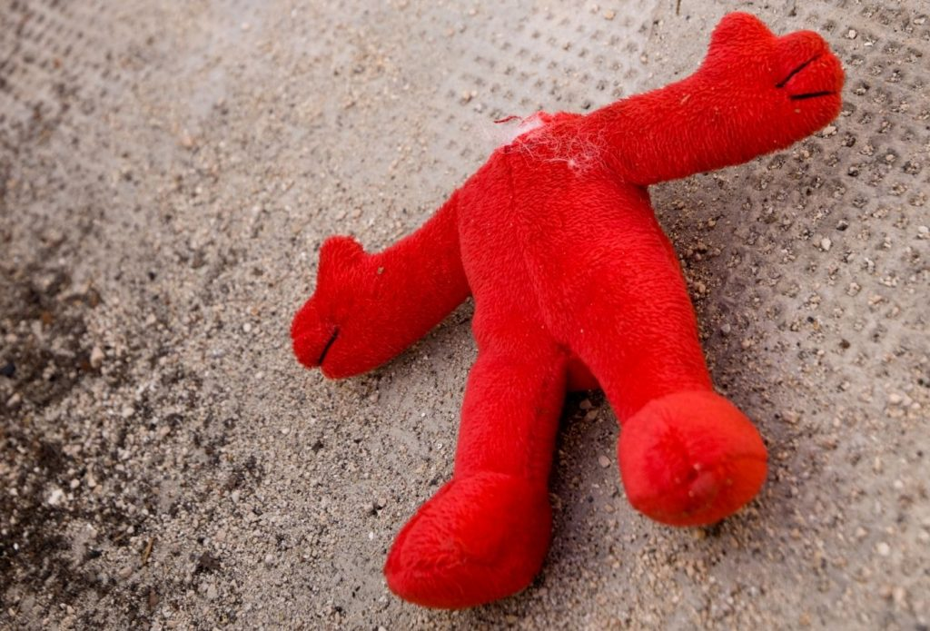 stuffed animal with the head ripped off