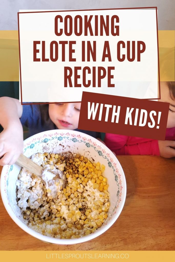 a child stirring up elote in a cup ingredients in a bowl