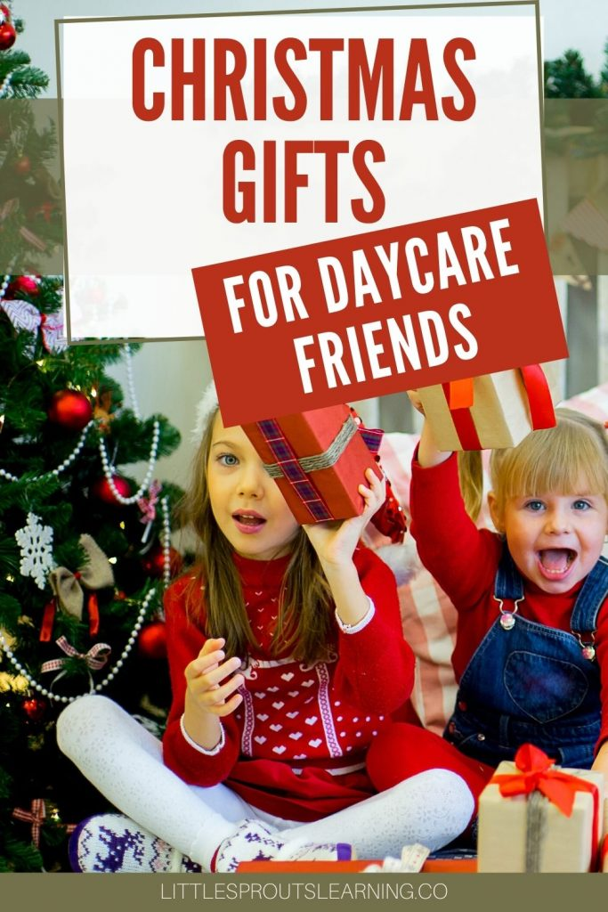 Daycare friends exchanging gifts by the Christmas tree