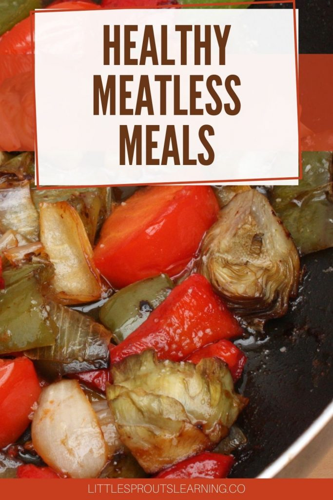 Skillet full of sauted vegetables for a healthy meatless meal