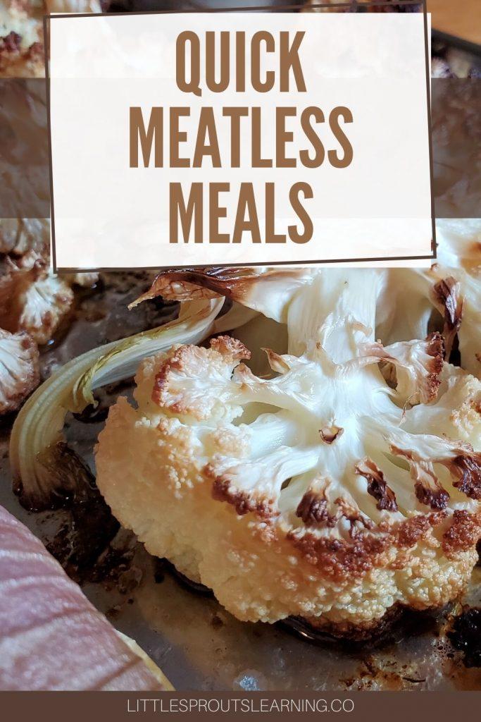 cauliflower steaks and onions on a roasting pan