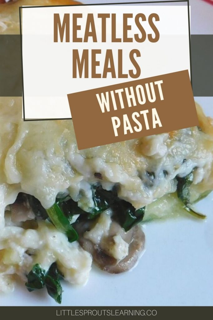 meatless lasagna with zucchini noodles on a plate