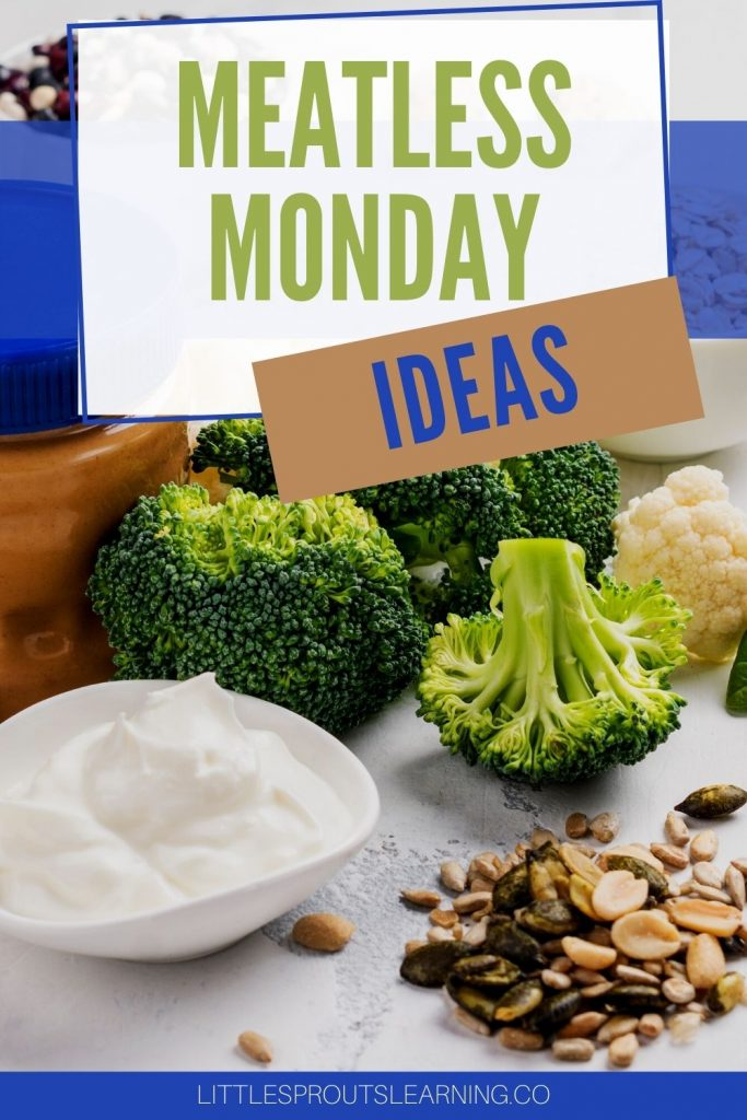 yogurt, seeds, and vegetables on a tray for meatless monday ideas