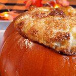 traditional pumpkin pie custard baked in a pumpkin