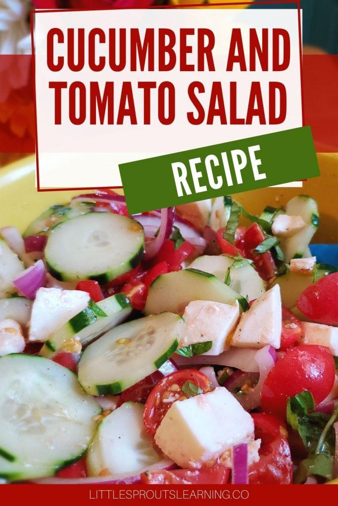 cucumber, tomato, onion, fresh mozzarella salad in a yellow bowl