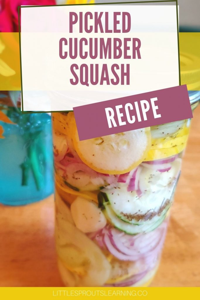 Pickled cucumber squash recipe in a jar on the table